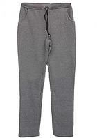 Теплые спортивные штаны на байке больших размеров женские зимние прямые серые