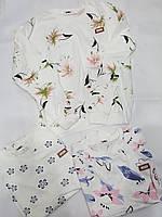 Свитшот женский Цветы на белом норма (универсал). Трикотаж.