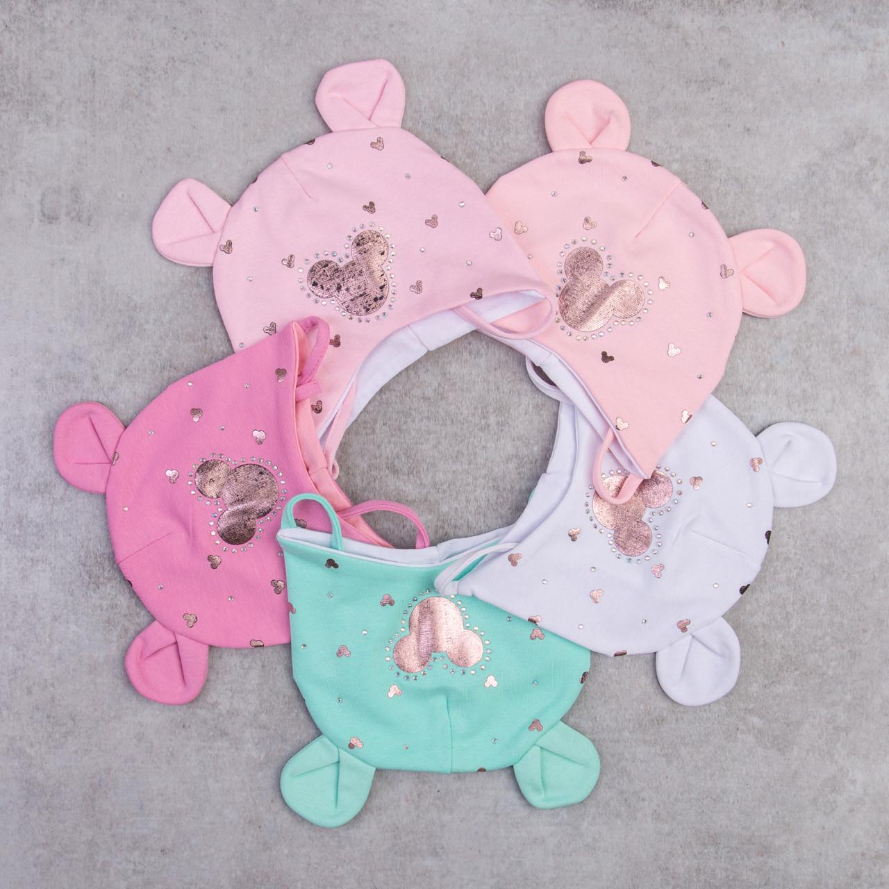 Шапка из хлопка для малышей грудничков на весну - Артикул 2282