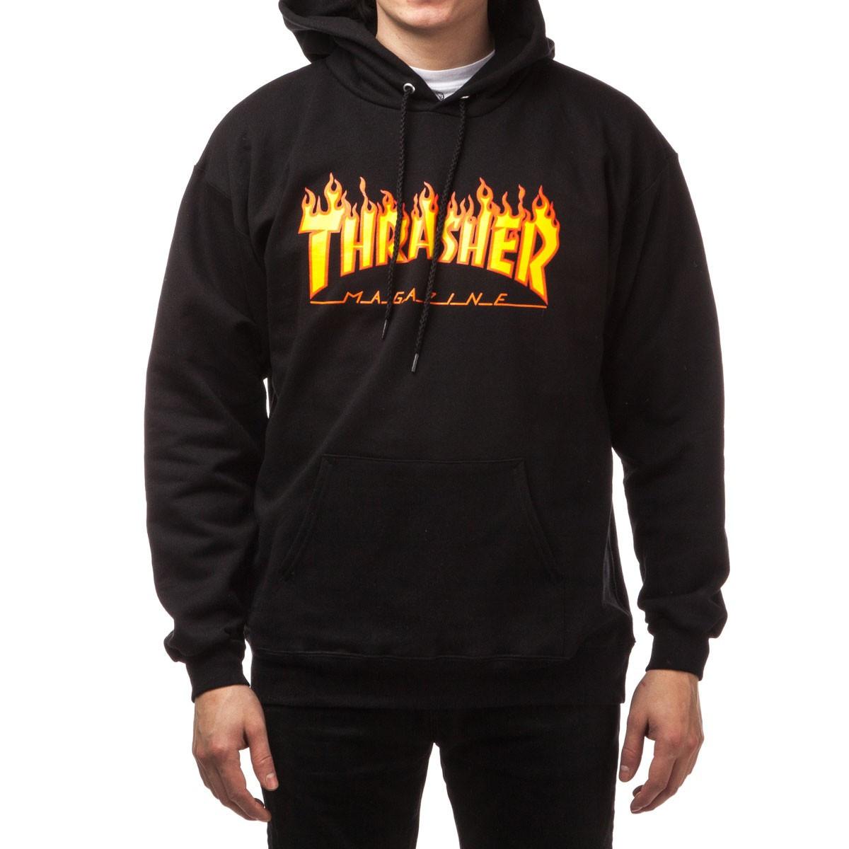 """Худи Thrasher """"Flame"""". Унисекс. Черный. Материалы: 80% Хлопок, 20% Эластан"""