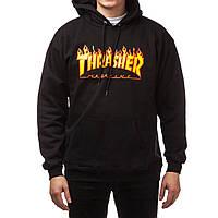 """Худи Thrasher """"Flame"""". Унисекс. Черный. Материалы: 80% Хлопок, 20% Эластан, фото 1"""