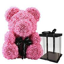 Мишка из 3D Роз с бантом в подарочной упаковке 40см, фото 2