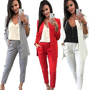 Классический женский брючный костюм пиджак и брюки /разные цвета, 42-52р, sh-003/
