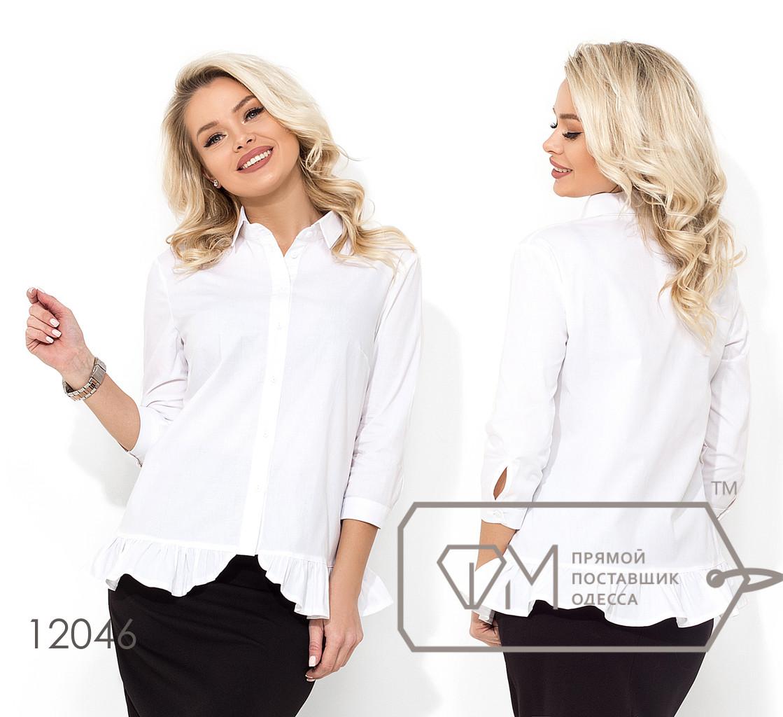 Котоновая однотонная блуза свободного кроя с рукавами 3/4 и воланом на подоле 12046