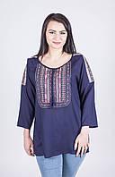 Стильна жіноча темно-синя штапельна туніка з етнічною вишивкою №1072-2