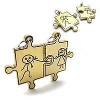 Двойные кулоны для влюбленных - Прикосновение (Золотой с черным)