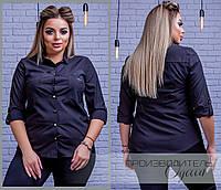 5e9670c464b Классическая женская блузка с длинным рукавом и карманами чёрная 42 44 46  48 батал 50 52