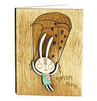 """Деревянная открытка """"Мятный заяц"""""""