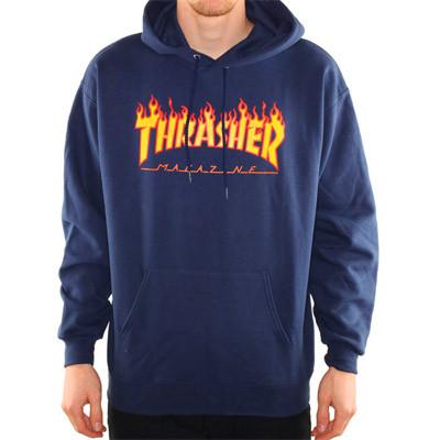 """Худи Thrasher """"Flame"""". Унисекс. Темно-синий. Материалы: 80% Хлопок, 20% Эластан"""