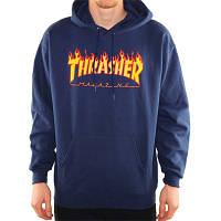 """Худи Thrasher """"Flame"""". Унисекс. Темно-синий. Материалы: 80% Хлопок, 20% Эластан, фото 1"""