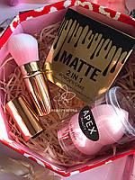 Спонж для лица Apex Beauty+Пудра 2in1 Matte + Кисть выдвижная для пудры Промо набор №0030