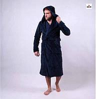 Мужской махровый халат теплый с капюшоном 48-58 р., фото 1