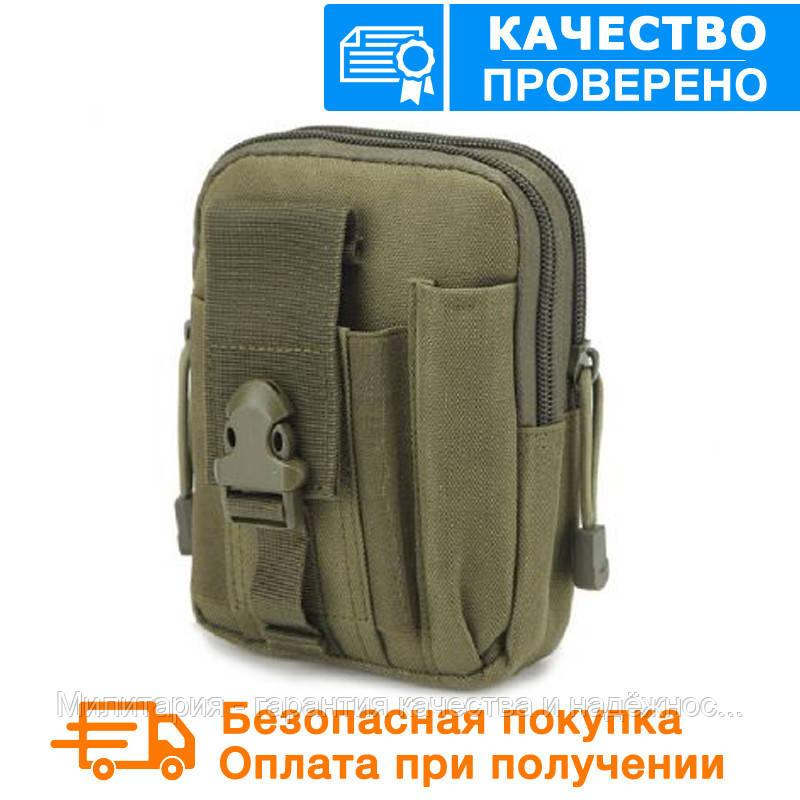 Тактическая универсальная (поясная) сумка - подсумок Mini warrior с системой M.O.L.L.E Olive (001-olive)
