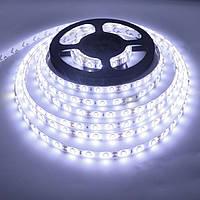 Светодиодная LED лента 5653 белая 5 метров блок питания защита от влаги пятиметровая ЛЕД 5м с блоком питания, фото 1
