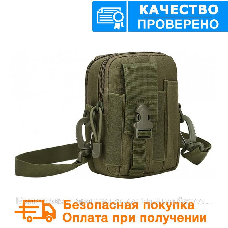 Тактическая универсальная (поясная) сумка - подсумок с ремнём Mini warrior с системой M.O.L.L.E (101-olive)