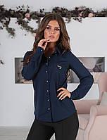 Классическая женская блузка с длинным рукавом и карманами синяя 42 44 46 48 батал 50 52 54 56, фото 1