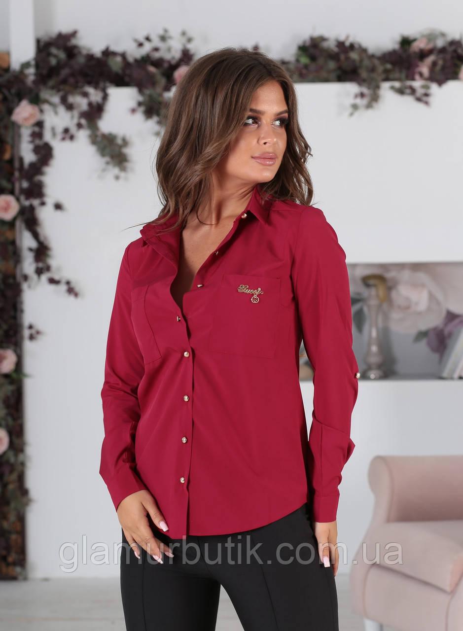 709c257a963 Классическая женская блузка с длинным рукавом и карманами марсала 42 44 46  48 батал 50 52