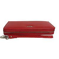 Женский кожаный кошелек на молнии красный, фото 1