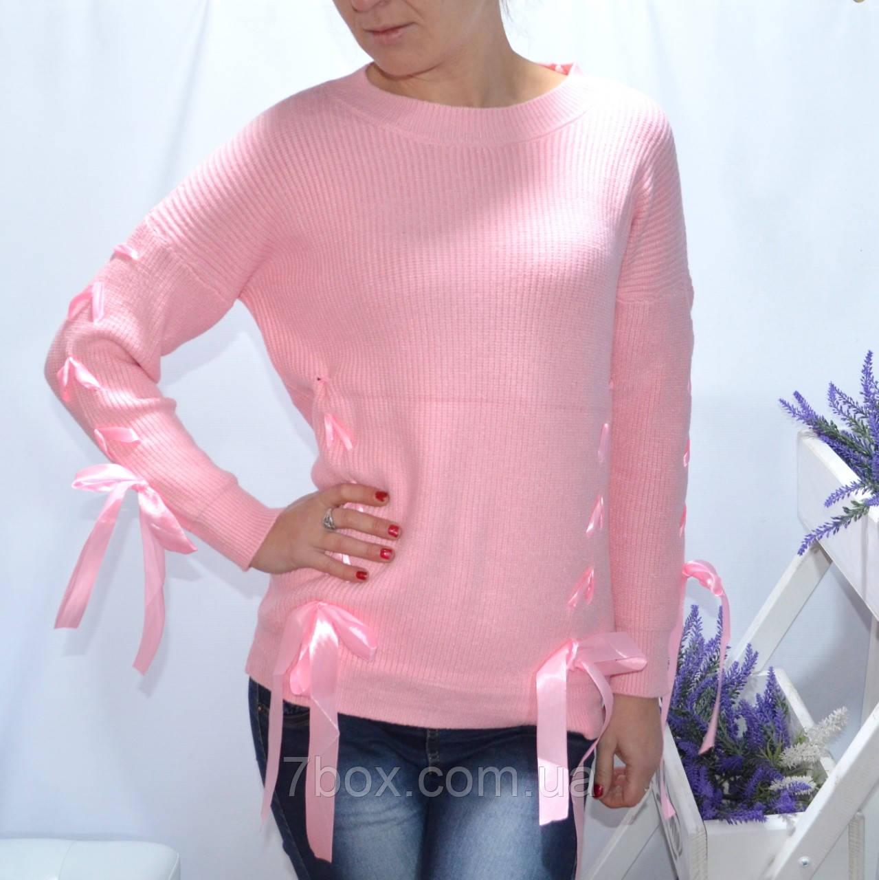 Кофточка женская с лентами тонкая вязка. Универсальный рр норма. Розовый