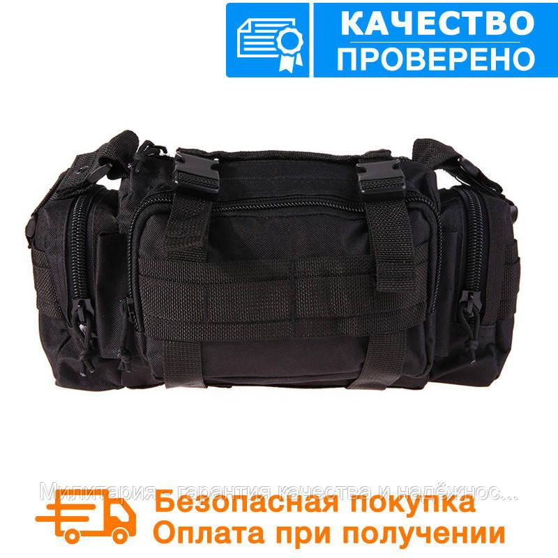 Тактическая универсальная (поясная, наплечная) сумка Silver Knight с системой M.O.L.L.E Black (105-black), фото 1