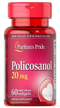 Поликозанол для серця, знижує холестерин, Puritan's Pride Policosanol 20 mg 60 softgels, фото 2