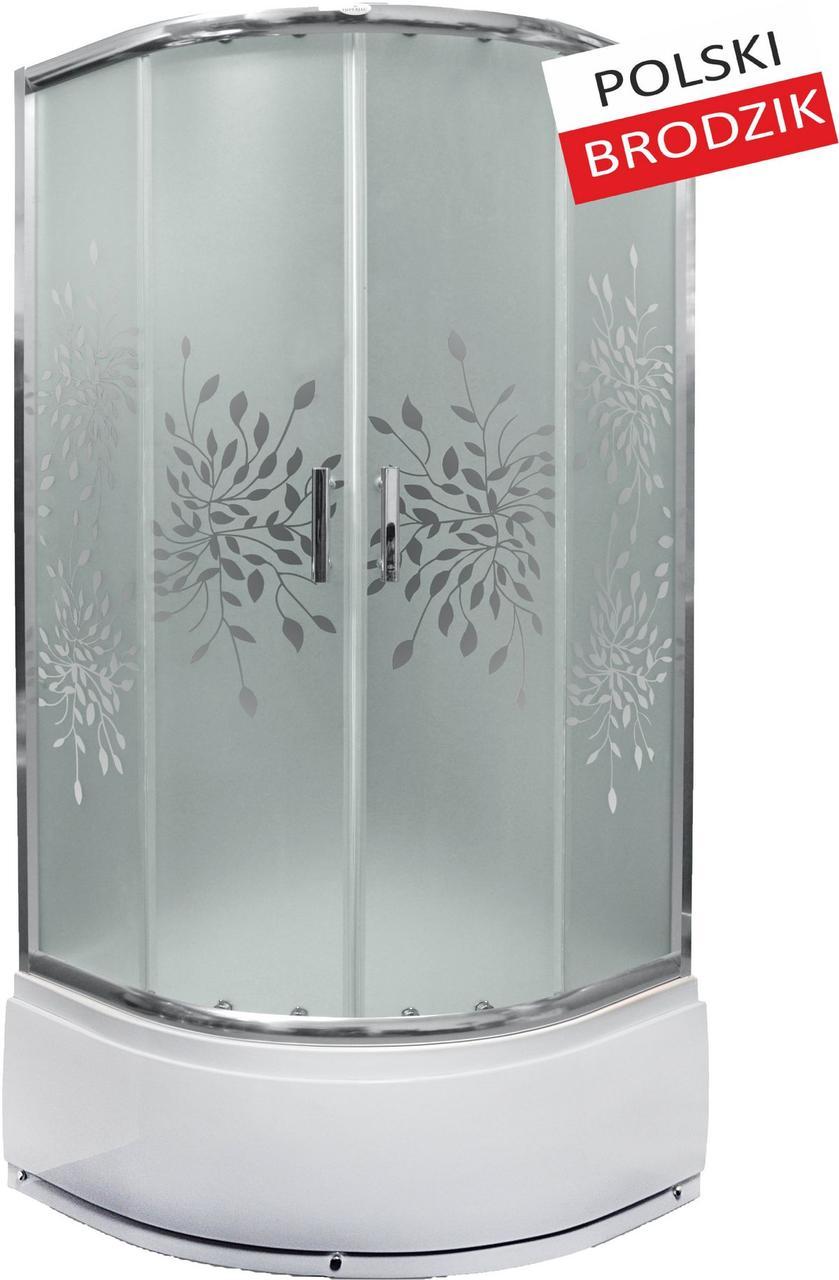 Душевая кабина полукруглая Liveno MARGO, глубокий поддон в комплекте, стекло матовое с узором, 90 см