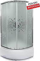 Душевая кабина полукруглая Liveno MARGO, глубокий поддон в комплекте, стекло матовое с узором, 90 см, фото 1