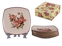 """Набор из 6 десертных тарелок """"Корейская роза"""" 18 см, фарфор 215-144"""