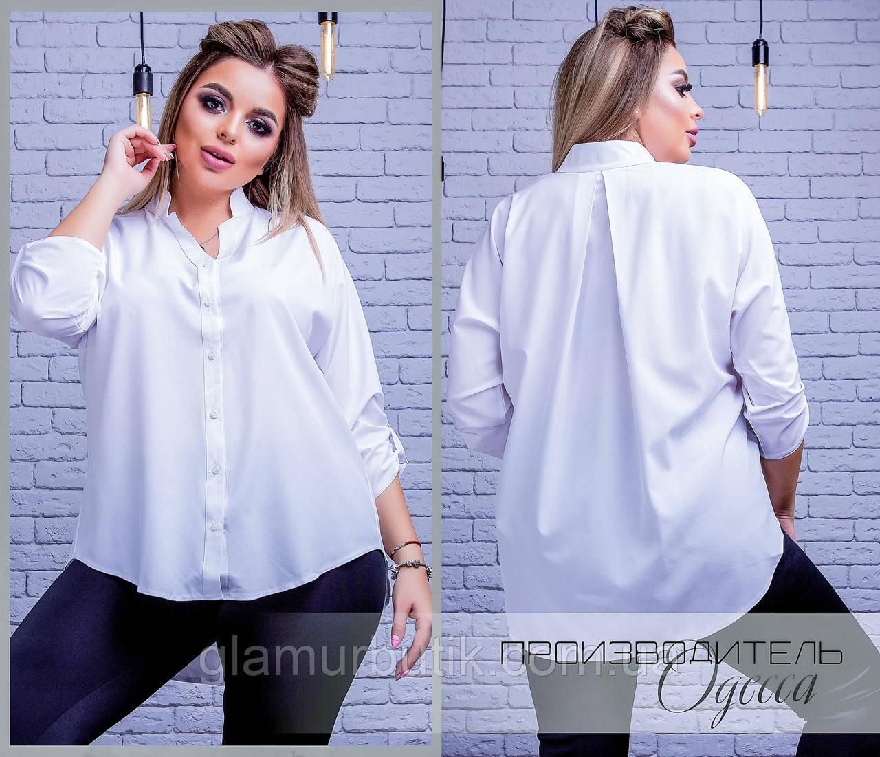 4d8995a2a0d7 Классическая женская блузка сзади удлиненная с рукавом три четверти белая  батал ...