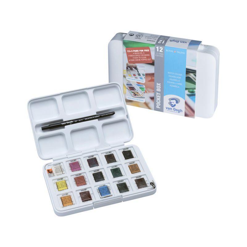 Набор акварельных красок, VAN GOGH, Pocket box, 12 кювет+3 БЕСПЛАТНО, Royal Talens