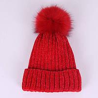Велюровая зимняя женская красная шапка, фото 1