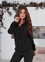 Классическая женская блузка с длинным рукавом и карманами чёрная 42 44 46 48 батал 50 52 54 56, фото 1