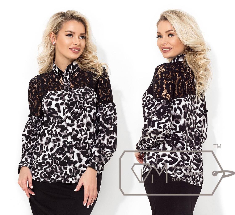 Леопардовая рубашка с гипюром