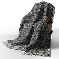 Хлопковый плед 140*200 Индия Бело-Темно-Серый