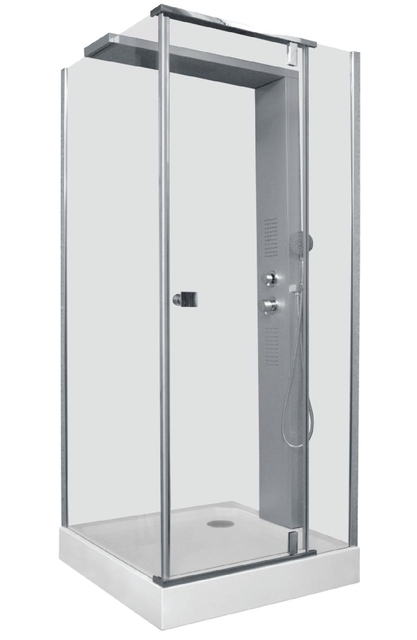Душевая кабина гидромассажная квадратная Liveno OLIMPIA с поддоном в комплекте, стекло прозрачное, 90*90 см
