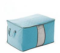 Органайзер для одежды, постельного белья бамбук (голубой)