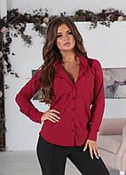 Классическая женская блузка с длинным рукавом и карманами марсала 42 44 46 48 батал 50 52 54 56, фото 1