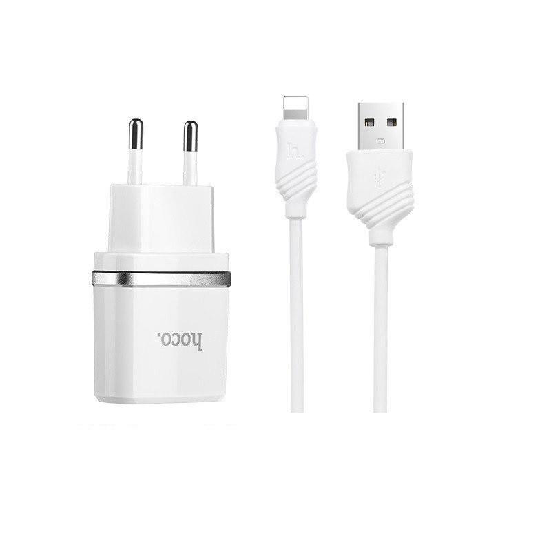 СЗУ адаптер 220V HOCO C12 2USB + кабель iPhone