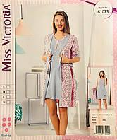 Женская пижама с халатом хлопок Miss Victoria Турция размер S(44) 61073.  Сертифицированная компания. 0d2e7f157aa16
