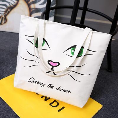 Эко-сумка из ткани с лицом кота