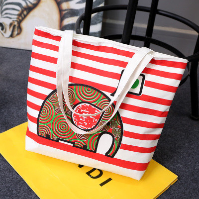 Эко-сумка из ткани в красную полоску с слоном