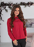 Классическая женская блузка с длинным рукавом и карманами марсала 42 44 46 48, фото 1