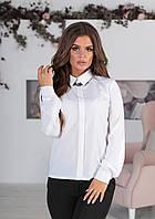 Классическая женская блузка с длинным рукавом и карманами белая 42 44 46 48, фото 1