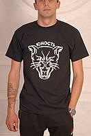 Мужская футболка черная Юность с котом унисекс