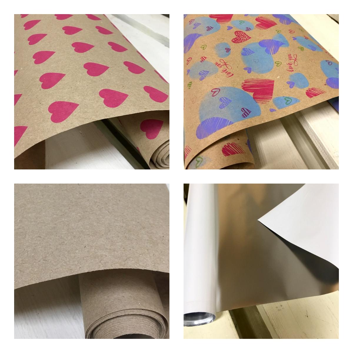 """Набір подарунковий для упаковки 4 рулону тм """"Love & Home"""" папір+плівка (2 метри рулон)"""