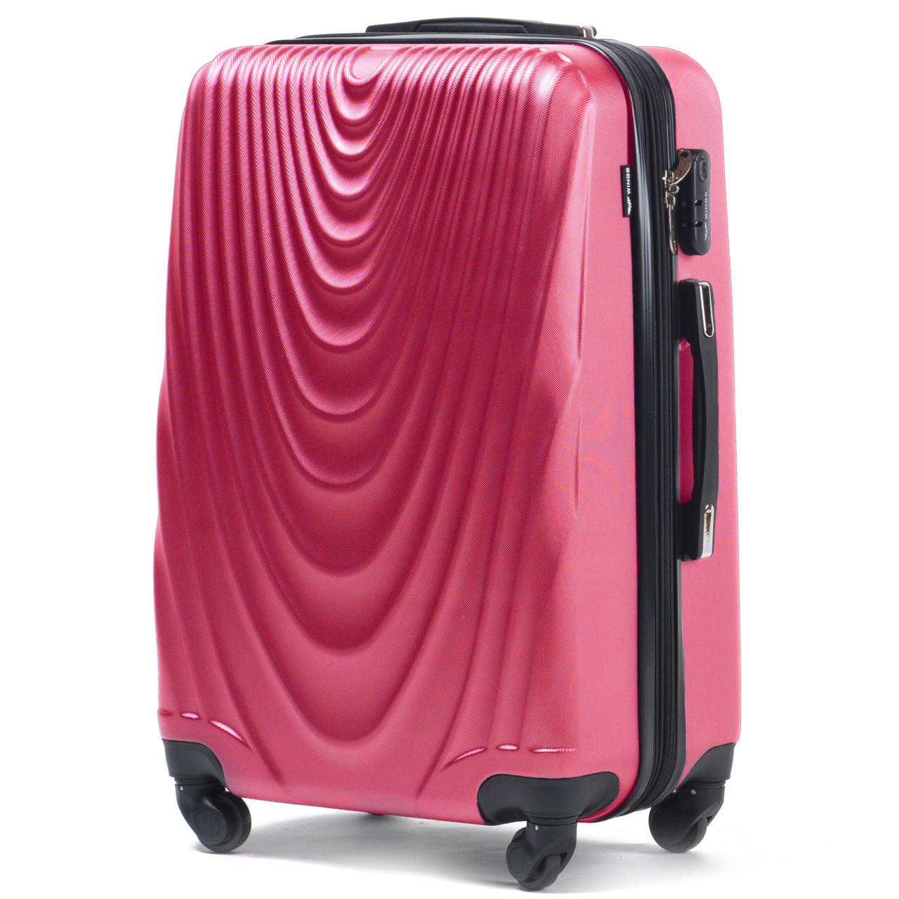 Большой пластиковый чемодан Wings 304 на 4 колесах розовый