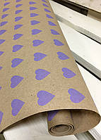 "Крафт бумага подарочная ""Сердце Ф"", 0.7 х 30 метров. 70 грамм/м². LOVE & home, фото 1"
