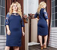 Платье женское с кружевным рукавам, креп,  132 батал, цвет - синий