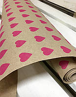 "Крафт бумага упаковочная, принтом ""Сердце К"", 70 см. 30 метов. 70 грам/м2.LOVE & home"