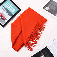 Яркий оранжевый однотонный женский шарф с бахромой опт, фото 1